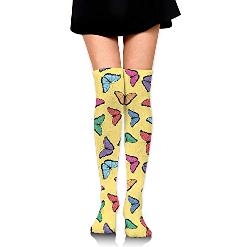 Comfort&products Color Butterflies Womens Knee High Socks Crazy Socks Funny Tube Leg Stockings -
