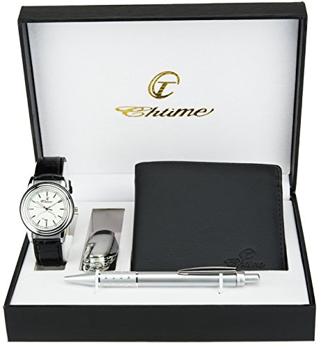 Geschenkset Herren Armbanduhr weiß  Taschenlampe  LED Schweizer Taschenmesser 10 Funktionen - Stift