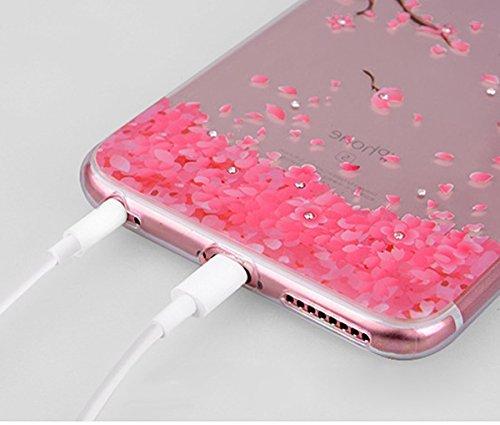 iPhone 7/iPhone 8 Coque Coquille en Silicone Transparente Housse Etui iPhone 7 /iPhone 8 Pink Rose Romantique Élégant Beau Fleurs de Cerisier Motif Ultra Mince Thin Flexible Doux Caoutchouc Couverture Pink*