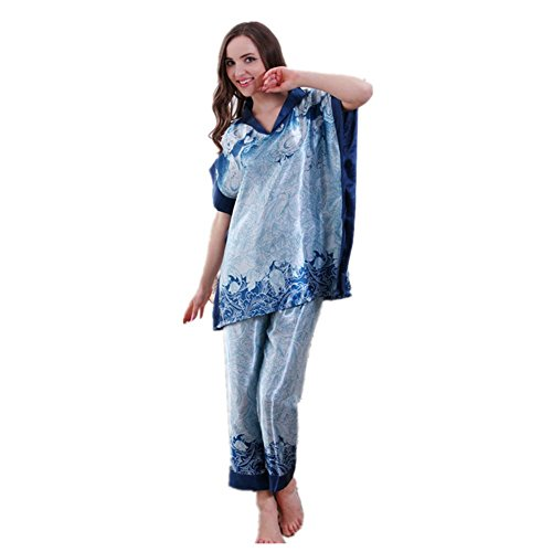 LIUDOU Donna corta manica facile stampa di lusso Home Service Kit codice , blue