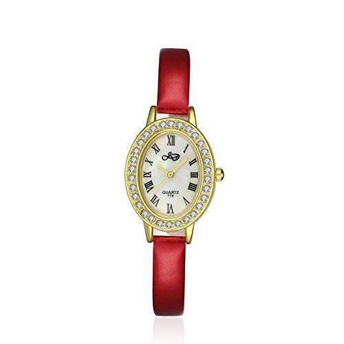 iLove EU 2pcs Set Damen Armbanduhr Gold Strass Oval Uhrgehäuse Römische Ziffern Zifferblatt Leder Band Analog Quarz Uhr Charm