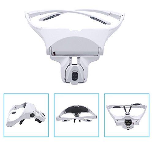 Preisvergleich Produktbild Kopf Lupe Brillen, Head Mount Lupe mit LED-Licht für Lesen Headset Lupe Visier Handsfree für Handwerk, Watch, Reparatur, Schmuck, Hobby, 1.0x, 1.5x, 2.0x, 2.5x, 3.5x Stirnband Lupe