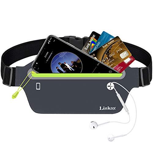 Linkax Sport Hüfttasche Bauchtasche Gürteltasche leichte wasserdichte Laufgürtel Lauftasche mit Kopfhöreranlass für alle Handys Größe unter 6 Zoll auf Laufen, Wandern und Outdoor Aktivitäten(Grau) -