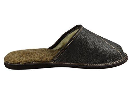 Natural Line Herren Leder-Hausschuhe, mit orthopädischer Innensohle oder mit Wolle gefüttert, erhältlich in verschiedenen Farben Deep Brown V2 (Wool Lining)