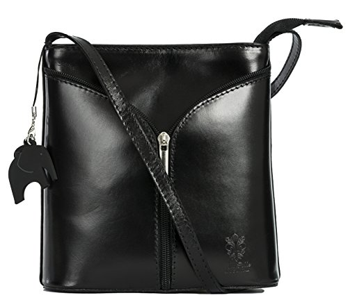 - 41V9ZcD0pdL - LiaTalia Mini Italian Leather Cross-Body Shoulder Bag with a Branded Protective Storage Bag and Charm – Alice – Black – Plain