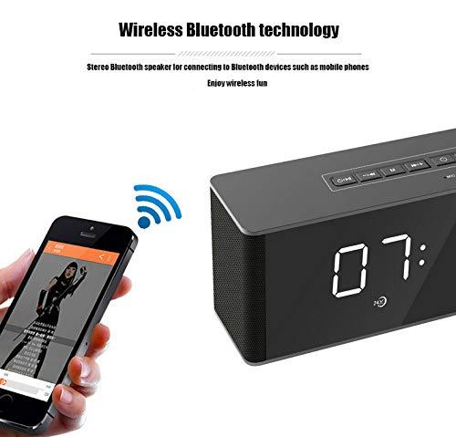Bluetooth-Lautsprecher LED Wireless Uhr-Alarm Anzeige Bluetooth-Lautsprecher - TF-Karte - Radio Computer-Lautsprecher,Black