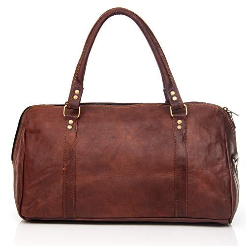 NAMA 'Abby' Handtasche Damen Echtes Leder Duffle Bag Umhängetasche Kleiner Weekender Henkeltasche Shopper Shoppingtasche Braun - Leder Duffle