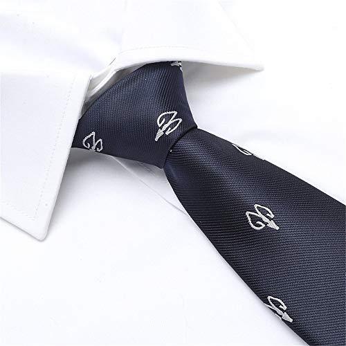 WUNDEPYTIE Echte Männer Orakelknochen Schaf Muster Pfeil Typ Business Kleid Hemd Krawatte Schmal, Saphirblau (Saphir-krawattennadel)