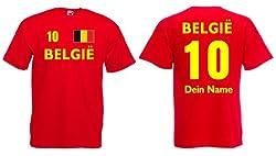 Fruit of the Loom Belgien Kinder T-Shirt mit Wunschname und Wunschnummer Trikot|r-128