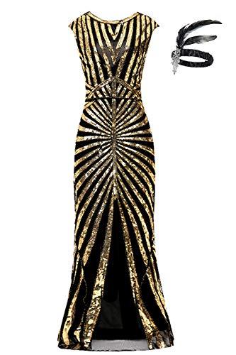 1920er Jahre Pailletten Meerjungfrau Formale Lange Flapper Kleid große Gatsby Party Abendkleid (M (EU 38-40), schwarzes Gold)