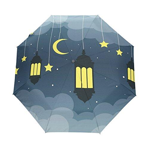 COOSUN Arabische Laterne Nacht Automatik 3 Folding Sonnenschirm-Regenschirm Farbe # 001