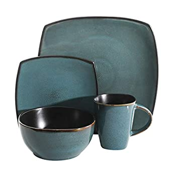 Gibson Elite Dinnerware Set, Stoneware, Teal Green