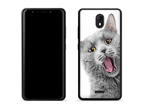 etuo Wiko View Go - Hülle Foto Case - lächelnde Katze - Handyhülle Schutzhülle Etui Case Cover Tasche für Handy