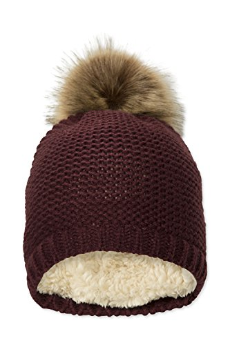 Mountain Warehouse Geneva Fur Lined Womens Fluff Beanie - Lightweight, Compact, Easy to Pack, Soft Fleece Lining & Fluffy Pom Pom - Ideal For Winter