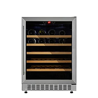 Cookology CWC600SS 60cm Wine Cooler in Stainless Steel | 54 Bottle Capacity, Freestanding Undercounter Fridge