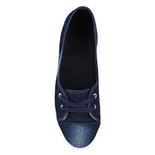 Klassische Damen Ballerinas | Sportliche Stoffschuhe | Slipper Flats | Sneakers Slip-ons | viele Farben Dunkelblau Denim