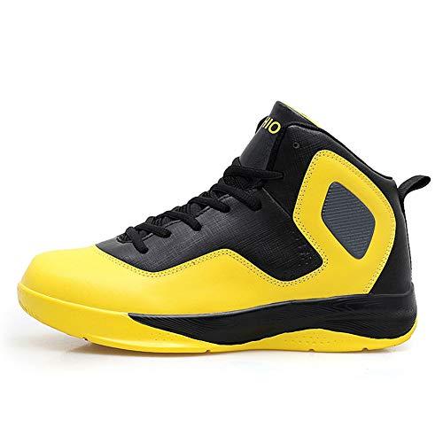 YAN Herren Sneakers Herbst & Winter Basketballschuhe Schnürschuhe Fitness & Cross Trainingsschuhe Lässig/Alltäglich Laufschuhe (Farbe : Gelb, Größe : 46)