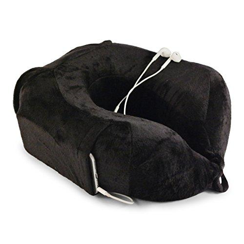 Preisvergleich Produktbild Nackenkissen von evo-cative - anschmiegsamer Memory-Schaum - Nackenhörnchen mit integrierter Handytasche und Aufbewahrungstasche (Schwarz)