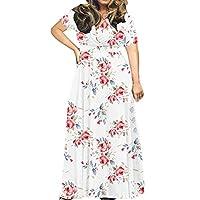 Fankle Women's Plus Size Short Sleeve V-Neck Wrap Maxi Dresses Casual Boho Floral Print Loose Plain Long Dress(White,L)