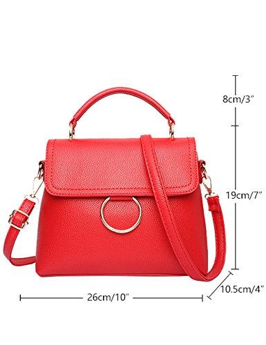 Menschwear Leather Tote Bag lucida PU nuove signore borsa a tracolla Vino Rosso Rosso