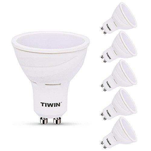 5er Pack TIWIN GU10 LED A+ Lampe, ersetzt 60W, Warmweiss (2700K), 540 Lumen, 6,5W, 110 Grad Abstrahlwinkel