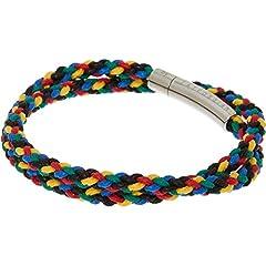 Idea Regalo - Tateossian - Braccialetto in corda cerata a doppia fascia, multicolore, 38 cm, con chiusura in acciaio inox lucido