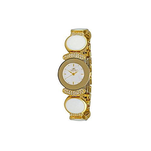 ADEE Kaye Women's Crystal Brass Bracelet & CASE Quartz Analog Watch AK8401-GWT