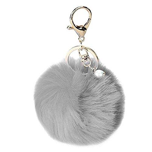 Keychain Beutel-Kette Auto-Anhänger, Yogogo Kaninchen-Pelz-Kugel-Plüsch-Auto-Schlüsselring (Grau) -