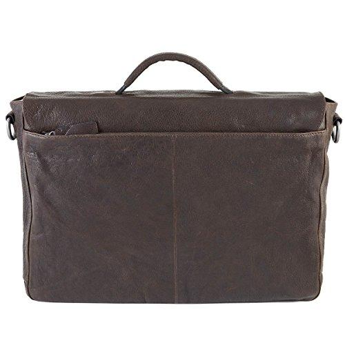 Strellson Coleman Messenger Leder 42 cm Laptopfach dark brown