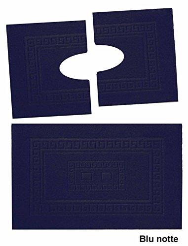 Casa tessile torino set 3 tappeti bagno in spugna cm 60x90 + 2 girowater cm 60x45 - blu notte
