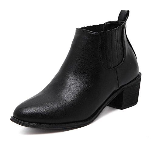 LvYuan-mxx Bottes femme court / Été et le printemps / élastique / Talon Chunky / orteil rond / Bureau et Carrière / Vêtements / Casual / chaussures à talons hauts 35-BLACK