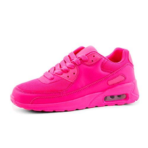 Trendige Unisex Damen Kinder Herren Laufschuhe Schnür Sneaker Sport Fitness Turnschuhe Pink
