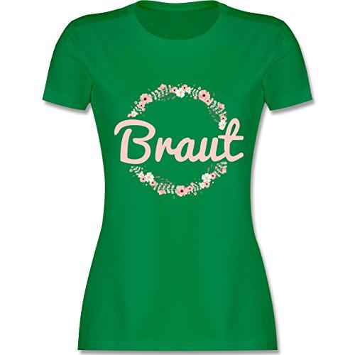 JGA Junggesellinnenabschied - Braut Blumenkranz rosa - L - Grün - L191 - Damen T-Shirt Rundhals