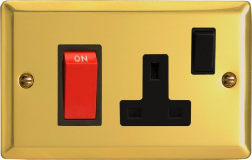 Varilight - 45A Cooker Panel (with 13A Switched Socket) Victorian Brass - XV45PB by Varilight -