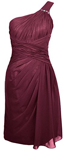 MACloth Women One Shoulder Short Draped Bridesmaid Dress Cocktail Party Gown Wine Red