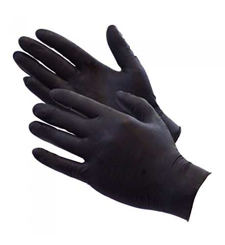 AURELIA BOLD Black Nitrile Powder Free Gloves large Box 0f 100 4.5mil Thickness