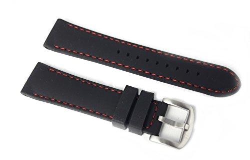 Cinturino per orologio in silicone nero e cuciture...