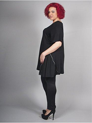 Vêtement Femme Grande Taille Tunique noire unie à zip Multicolore