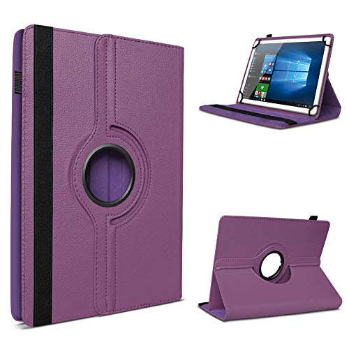 UC-Express Tablet Schutzhülle für 10-10.1 Zoll Tasche aus hochwertigem Kunstleder Standfunktion 360° Drehbar Universal Case Cover, Farben:Lila, Tablet Modell für:Blaupunkt Endeavour 1001