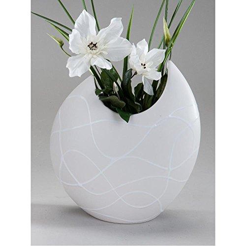 Vase Dekovase SAMUNGA Keramik creme weiß matt rund H. 26cm Formano