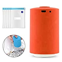 Volwco Mini Automatic Compression Vacuum Pump,Multi-Functional Vacuum Sealers Machine Dual-use Storage Bag Air Extractor For Travel Compression Food Clothes Storage With 5pcs Vacuum Zipper Bags