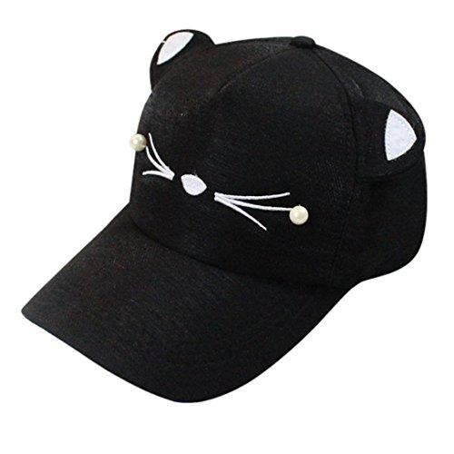 Xshuai Baseball Hat, Fashion Women Casual Hat Adjustable Baseball Cap Tide Pearl Wild Cute Student Cat Ears Visor Hats Sun Caps