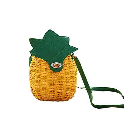 Crossbody Tasche Geflochten Stroh Umhängetasche Retro Strandtasche aus Stroh Taschen Ananas Geflochtene Tasche Gewebt Reißverschluss für Einkaufen, Strand, Partys, Reisen. Durch Futurepast -