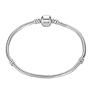 Size 19cm Genuine Solid Sterling Silver, High Quality Snap Clasp Snake Charm Bracelet. Compatible with well known Beads, Charms and Clips.