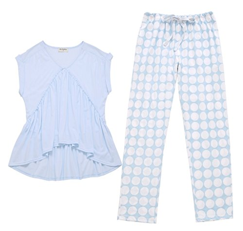 Sommer-Baumwolle einfach kurz-sleeved Wellenpunkt Hose Haus Service Anzug Blau