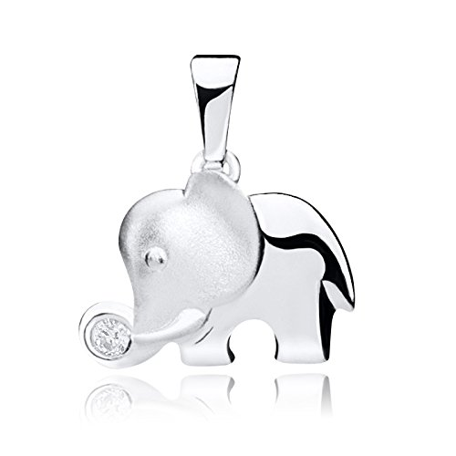 Materia 925 plata Elefant colgantes parcialmente mate - colgante elefante con 1...