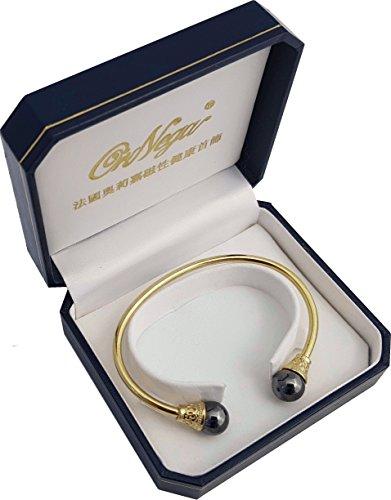 medipaq 24K Gold vergoldet Magnetischer Therapie Unisex Armreif + Magnet Ohrstecker–von Arthritis, Rheuma, Ischias und bietet erhöhte Durchblutung