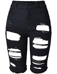 Wgwioo Pantalons Déchirés Et Mûrs Pour Femmes Pantalons Sexy Sexy Mini-Pantalons Denim High Waist Night Club