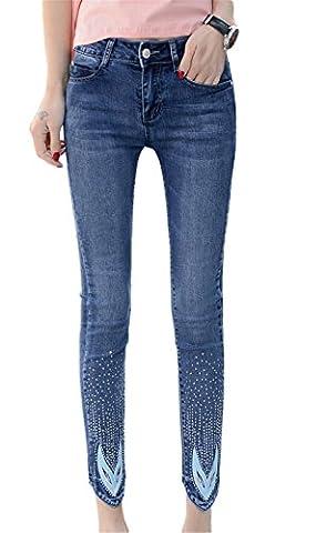 Insun Women's Beaded Cotton Skinny Pencil Ankle Jeans UK 8 Blue