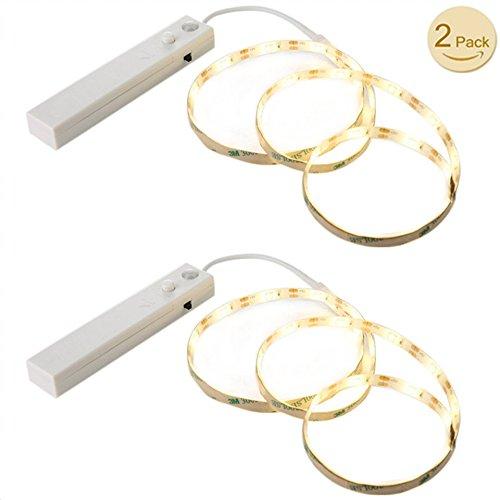 LED Streifen Licht,Goldbeing LED Strip Licht mit Bewegungsmelder Batteriebetrieb LED Warmweiß Lichterkette für Wandschrank, Flure, Schublade, Treppen (4 AAA Batterien Betrieben,ohne Batterie) 2er Pack